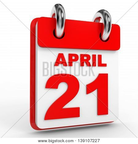 21 April Calendar On White Background.