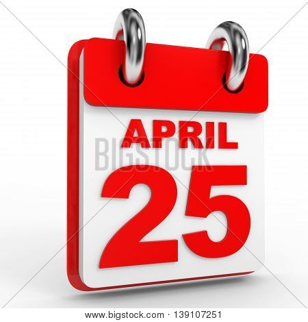 25 April Calendar On White Background.
