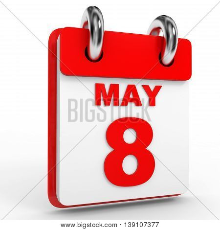 8 May Calendar On White Background.