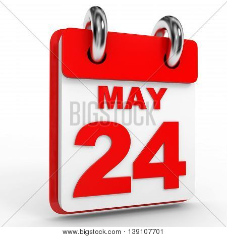 24 May Calendar On White Background.