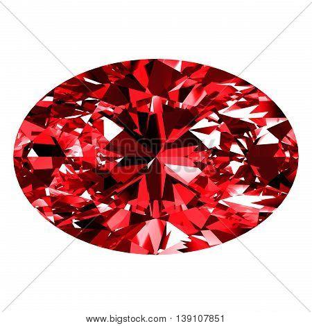 Ruby Oval Over White Background. 3D Illustration.