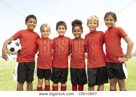 Young Boys And Girls In Football Team