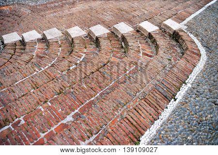 traditional historic Urban masonry stairs in Liguria Italy
