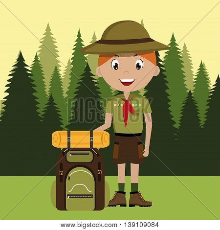 scout character with travel bag isolated icon design, vector illustration  graphic