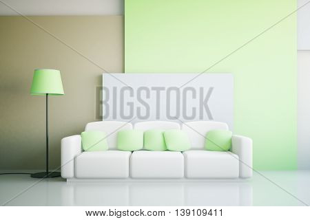 Vibrant green and white living room interior design with large sofa and floor lamp. 3D Rendering