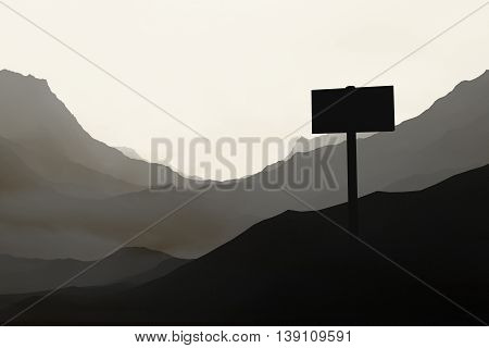 Desert landscape with singboard. 3D Rendering. Close up.