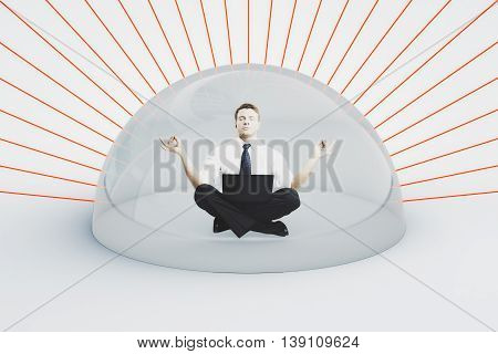 Internet security concept. Businessman with laptop meditating under shield attacked by red laser rays on light background. 3D Rendering