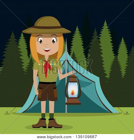 scout character with lamp  isolated icon design, vector illustration  graphic