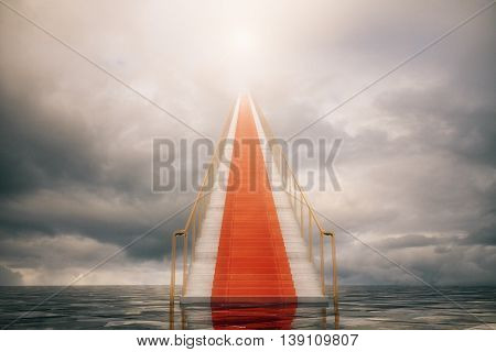 stairway with red carpet to success. 3D Rendering