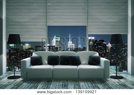 Front view of modern living room interior with black pillows on white couch floor lamps wooden floor and panoramic window with blinds and illuminated night city view. 3D Rendering