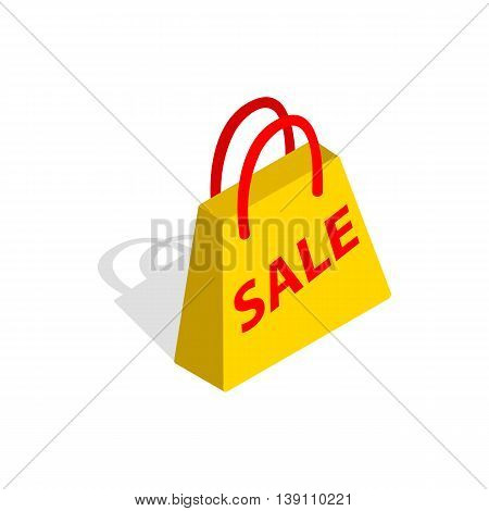 Bag with word sale icon in isometric 3d style isolated on white background. Marketing symbol
