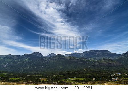 View of the Western Ghats from Kanthalloor, a village near Munnar, Kerala, India