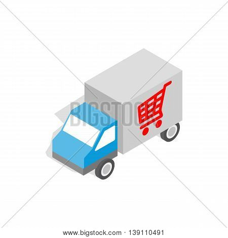 Truck for delivery icon in isometric 3d style isolated on white background. Delivery symbol