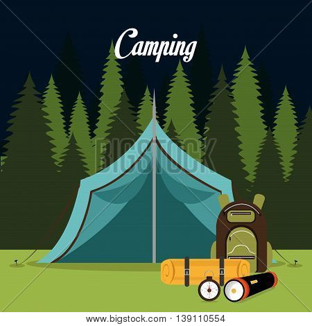 tent camping over landscape background isolated icon design, vector illustration  graphic