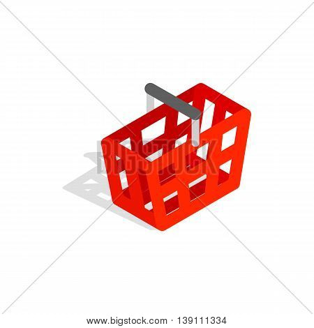 Shopping cart icon in isometric 3d style isolated on white background. Buy symbol