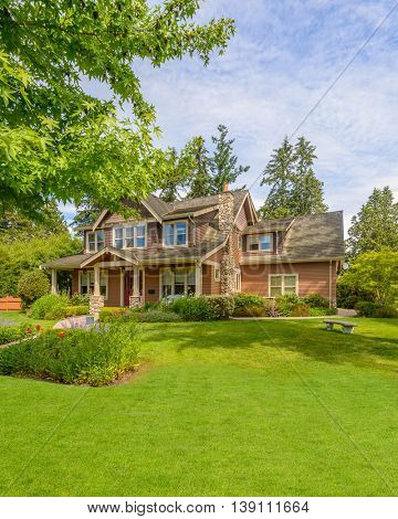Luxury house at summer day in Vancouver, Canada.