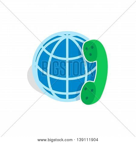 Calls around world icon in isometric 3d style isolated on white background. Conversations symbol