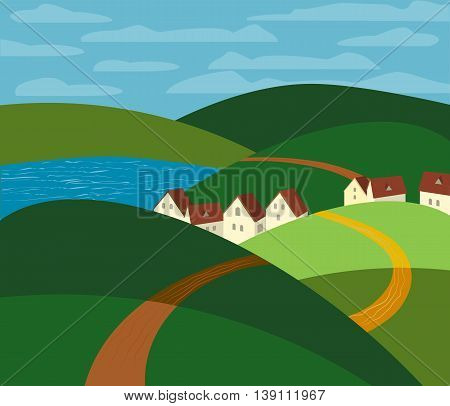Green landscape. Farm houses silhouettes. Country winding road on meadows and fields. Rural community. Lake view among hills. Village countryside scene background. Vector Illustration