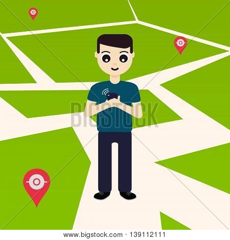 Young man playing a game on his mobile phone outside. GPS navigation system with map pin-markers in the background. Concept of outdoor entertainment. Vector illustration.