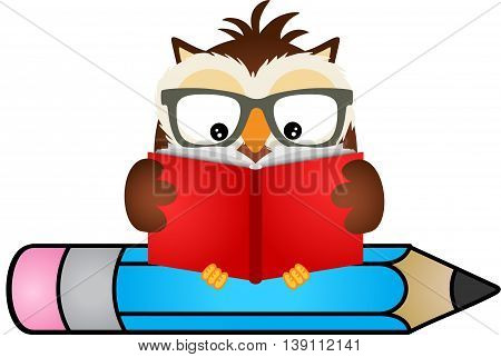 Scalable vectorial image representing a owl reading book sitting on pencil, isolated on white.