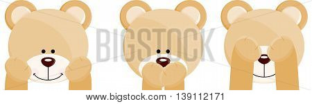 Scalable vectorial image representing a three faces teddy bears, isolated on white.