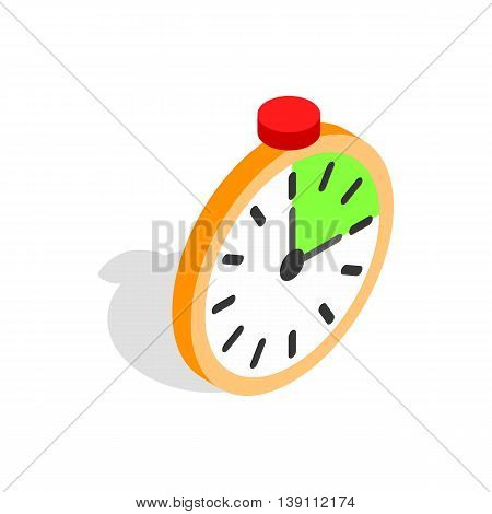 Alarm clock icon in isometric 3d style isolated on white background. Time symbol