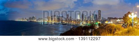 Panoramic landscape of Tel Aviv city at night