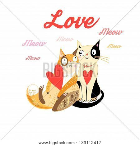 Lovers Funny cats with hearts on a white background