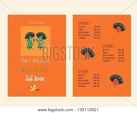 Set of templates for mexican restaurant. Menu of Mexican food. Vector illustration