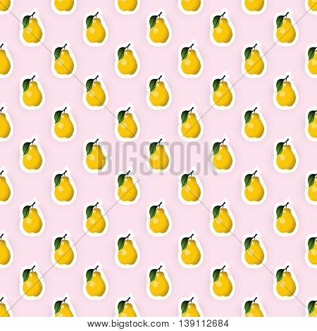 Seamless pattern background with pear fruit illustration. Pear fruit seamless pattern. Seamless background for packaging design of pear fruit products or pear taste. Vector illustration