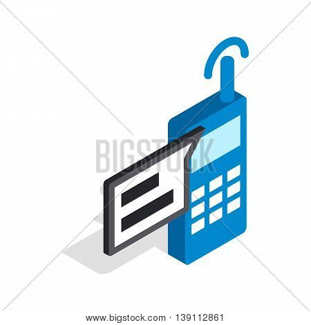 Talking on radio icon in isometric 3d style isolated on white background. Conversations symbol