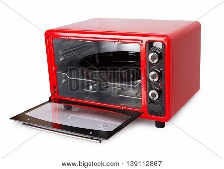 Kitchen red oven isolated on a white background