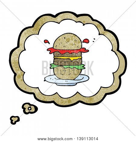 freehand drawn thought bubble textured cartoon burger