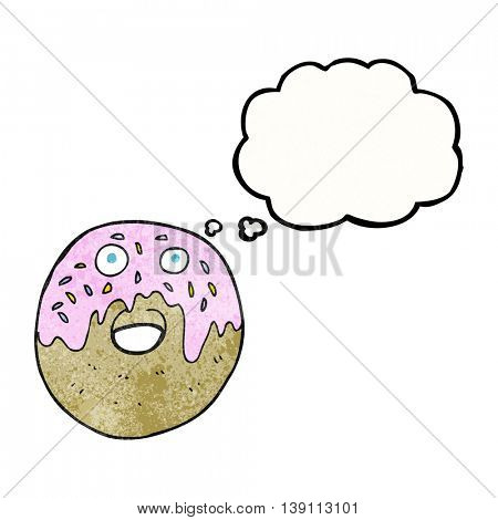 freehand drawn thought bubble textured cartoon doughnut
