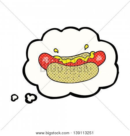 freehand drawn thought bubble cartoon hotdog