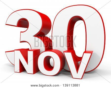 November 30. 3D Text On White Background.