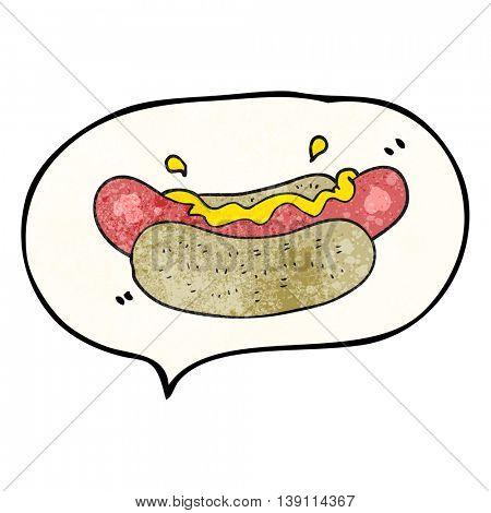 freehand speech bubble textured cartoon hotdog