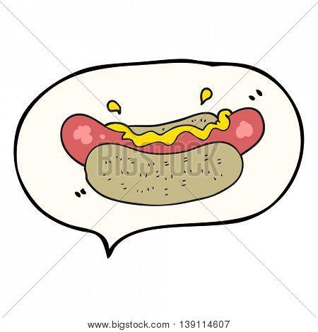 freehand drawn speech bubble cartoon hotdog