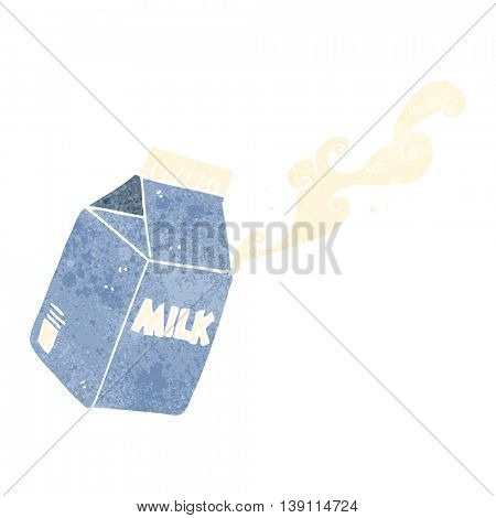 freehand drawn retro cartoon milk carton
