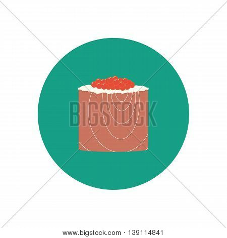 Sushi roll with salmon and caviar. Japanese cuisine. Vector illustration