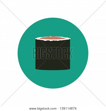 Sushi roll with salmon. Japanese cuisine. Vector illustration