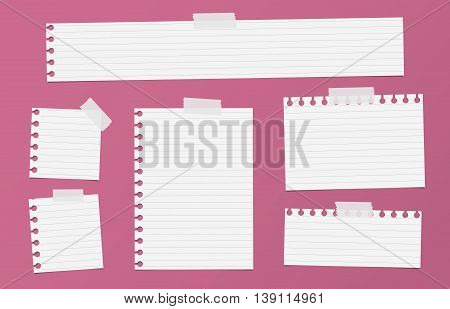 Pieces of cutout white ruled notebook paper are stuck with sticky tape on red background.