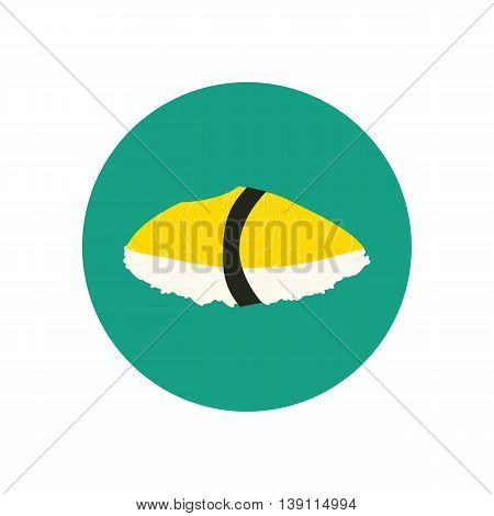 Sushi with oily fish. Japanese cuisine. Vector illustration