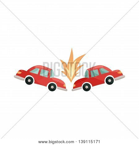 Car accident icon in cartoon style isolated on white background