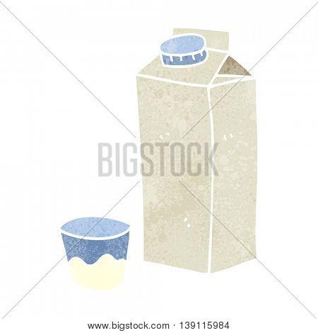 freehand retro cartoon milk carton