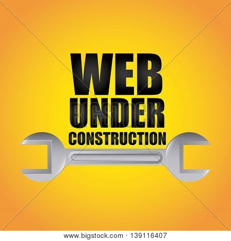 Under construction and Work in Progress concept represented by wrench icon. Colorfull and flat illustration.