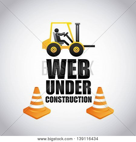 Under construction and Work in Progress concept represented by forklift and cone icon. Colorfull and flat illustration.