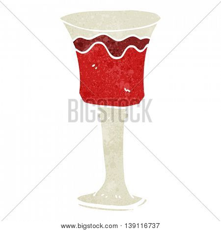 freehand retro cartoon goblet of wine