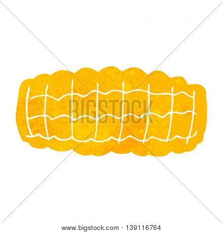 freehand retro cartoon corn cob