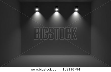 Small room illuminated with three spotlights. 3D rendering of dark interior with wall lights.